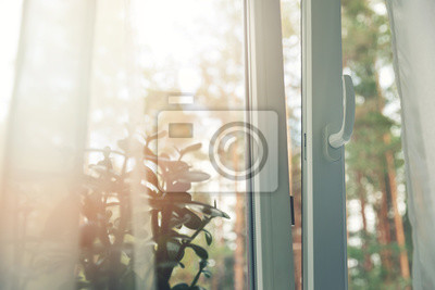 Sticker opened white plastic pvc window with forest background