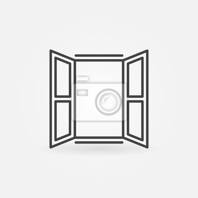 Sticker Opened window icon. Vector symbol in linear style