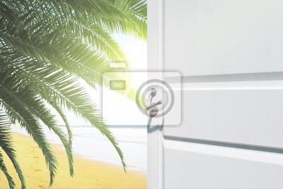 Opening door with beach view