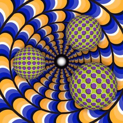 Sticker Optische Täuschung der Drehung von drei Kugel um ein bewegliches Loch. Abstrakt Hintergrund.