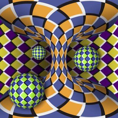 Sticker Optische Täuschung der Drehung von drei Kugeln um einen sich bewegenden Hyperboloid. Abstrakt Hintergrund.