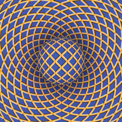 Sticker Optische Täuschung der Rotation der Kugel vor dem Hintergrund eines sich bewegenden Raum.