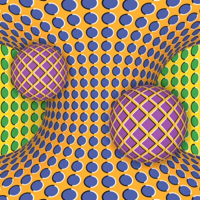 Sticker Optische Täuschung der Rotation von zwei Kugeln um einen sich bewegenden Hyperboloid. Abstrakt Hintergrund.