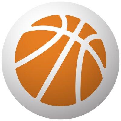Sticker Orange Basketball-Symbol auf Kugel isoliert auf weißem Hintergrund