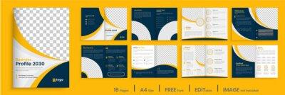 Sticker Orange business brochure template layout design, 16 page corporate brochure editable template layout, minimal business brochure template design.