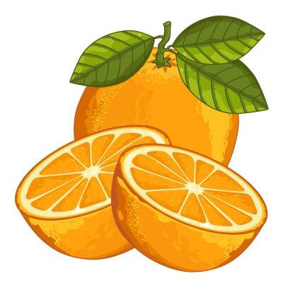 Sticker Orange isoliert auf weißem Hintergrund.