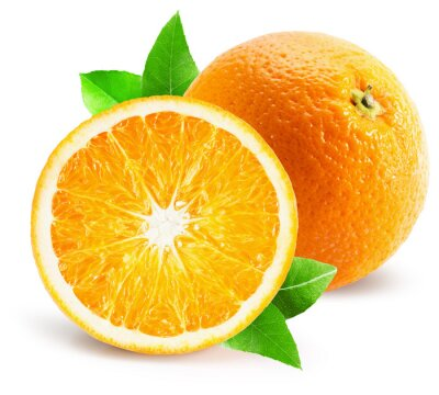 Sticker Orange mit Hälfte der Orange getrennt auf dem weißen Hintergrund
