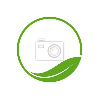 Sticker Organischer Blatt-Kreis Einfache Emblem-Logo-Schablone