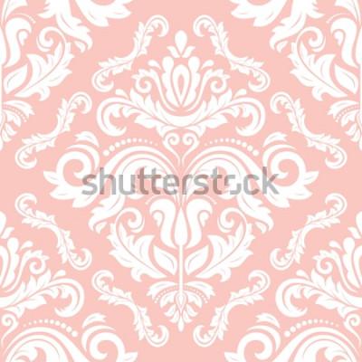 Sticker Orientalische Vektor klassisches Muster. Nahtloser abstrakter Hintergrund mit dem Wiederholen von Elementen. Rosa und weißes Muster