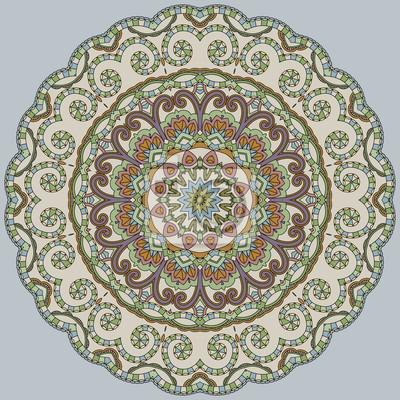 Ornamental Farbe Spitze auf blauem Hintergrund. Floral Mandala