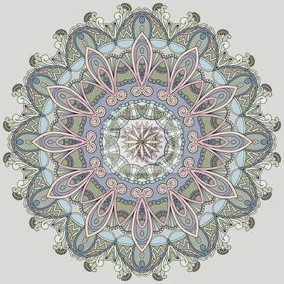Ornamental Kreis auf grauem Hintergrund. Mandala in Pastellfarben