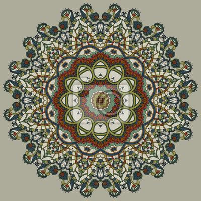 Ornamental Spitze in einem Kreis auf einem beige Hintergrund. Retro-Design