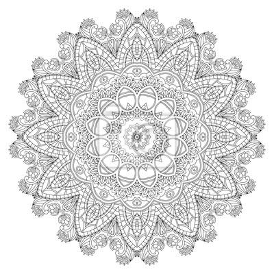 Ornamental Spitze in einem Kreis auf einem weißen Hintergrund