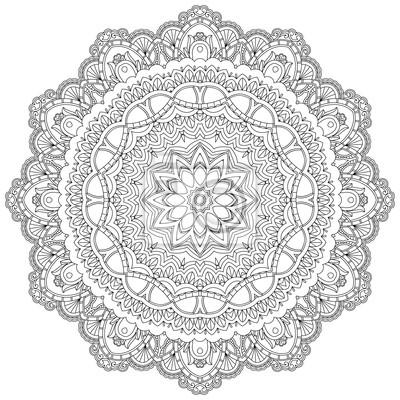 Ornamental Spitze in einem Kreis auf einem weißen Hintergrund. Floral-Design