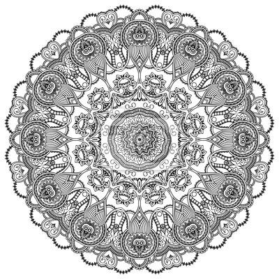 Ornamental Spitze Kreis auf weißem Hintergrund. Floral Runde