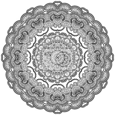 Ornamental Spitzen Kreis auf weißem Hintergrund. Floral Mandala