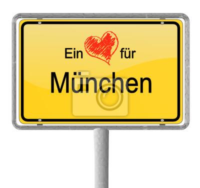 Ortsschild Herz München
