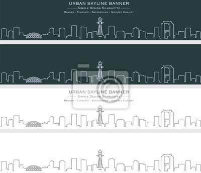 Osaka Single Line Skyline Banner