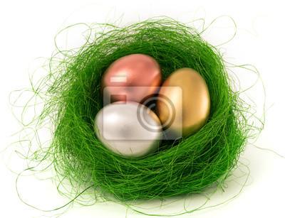 Ostereier im grünen Nest