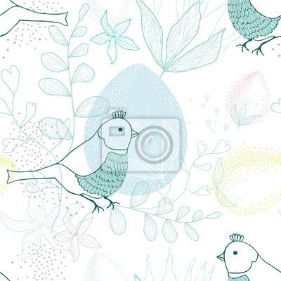 Sticker Ostern Muster mit Vogel und Blumen, Vektor.