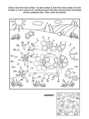 Ostern themed verbinden die punkte bild puzzle und färbung seite ...