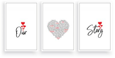 Our love story, vector. Wording design, lettering. Scandinavian minimalist poster design, three pieces art design, wall artwork decor, wall decals. Romantic love quotes