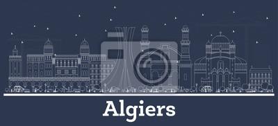 Outline Algiers Algeria City Skyline with White Buildings.
