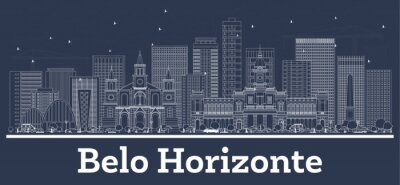 Outline Belo Horizonte Brazil City Skyline with White Buildings.