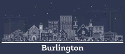 Outline Burlington Iowa Skyline with White Buildings.