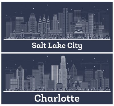 Outline Charlotte North Carolina and Salt Lake City Utah City Skylines with White Buildings.