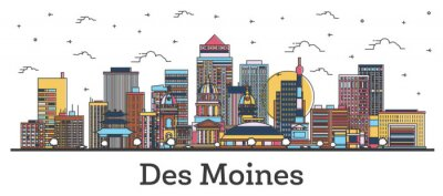 Outline Des Moines Iowa City Skyline with Color Buildings Isolated on White.