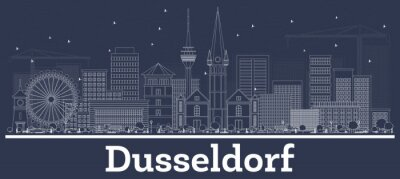 Outline Dusseldorf Germany City Skyline with White Buildings.