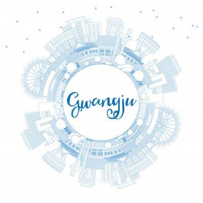 Outline Gwangju South Korea City Skyline with Blue Buildings and Copy Space.