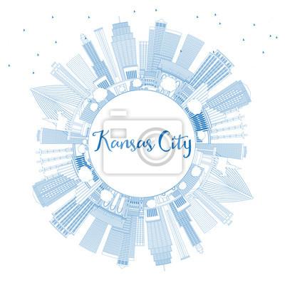 Outline Kansas City Missouri Skyline with Blue Buildings and Copy Space.