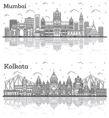 Outline Kolkata and Mumbai India City Skylines with Historic Buildings and Reflections Isolated on White.
