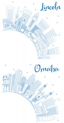 Outline Lincoln and Omaha Nebraska City Skylines Set with Blue Buildings and Copy Space.