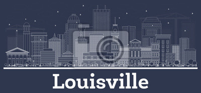 Outline Louisville Kentucky USA  City Skyline with White Buildings.