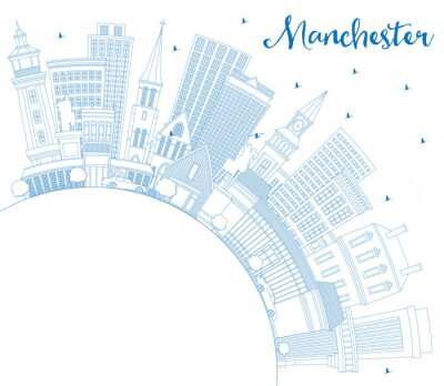 Outline Manchester New Hampshire City Skyline with Blue Buildings and Copy Space.