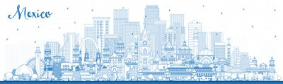 Outline Mexico (Country) City Skyline with Blue Buildings.