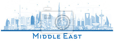 Outline Middle East City Skyline with Blue Buildings Isolated on White.