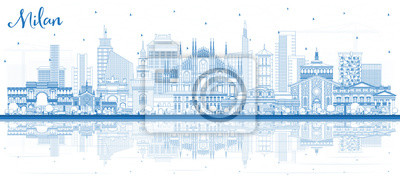 Outline Milan Italy City Skyline with Blue Buildings and Reflections.