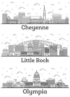 Outline Olympia Washington, Little Rock Arkansas and Cheyenne Wyoming City Skylines Set.