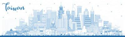Outline Taiwan City Skyline with Blue Buildings.