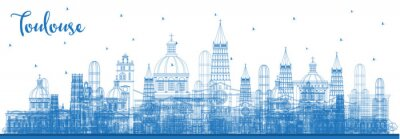 Outline Toulouse France City Skyline with Blue Buildings.