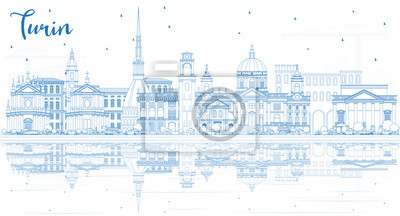Outline Turin Italy City Skyline with Blue Buildings and Reflections.