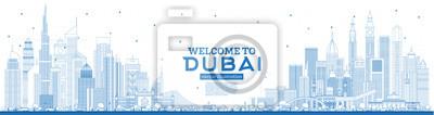 Outline Welcome to Dubai UAE Skyline with Blue Buildings.