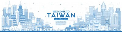 Outline Welcome to Taiwan City Skyline with Blue Buildings.