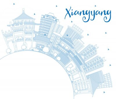 Outline Xiangyang China City Skyline with Blue Buildings and Copy Space.
