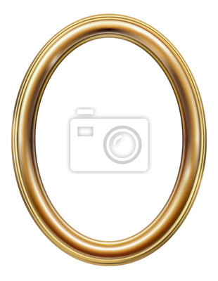 Sticker Oval classic golden picture frame