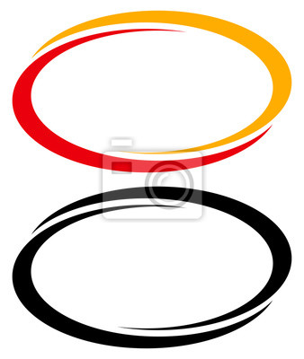 Sticker Oval, ellipse banner frames, borders. Duotone and black versions included